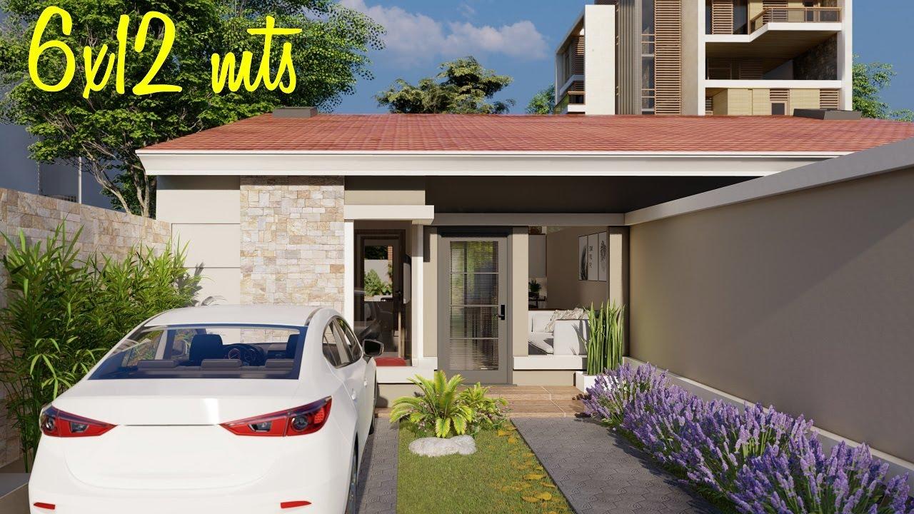 Planos de casas de 2 dormitorios | Casa de 6x12 metros | Casas gemelas