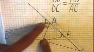 Теорема о свойстве биссектрисы внешнего угла треугольника Доказательство