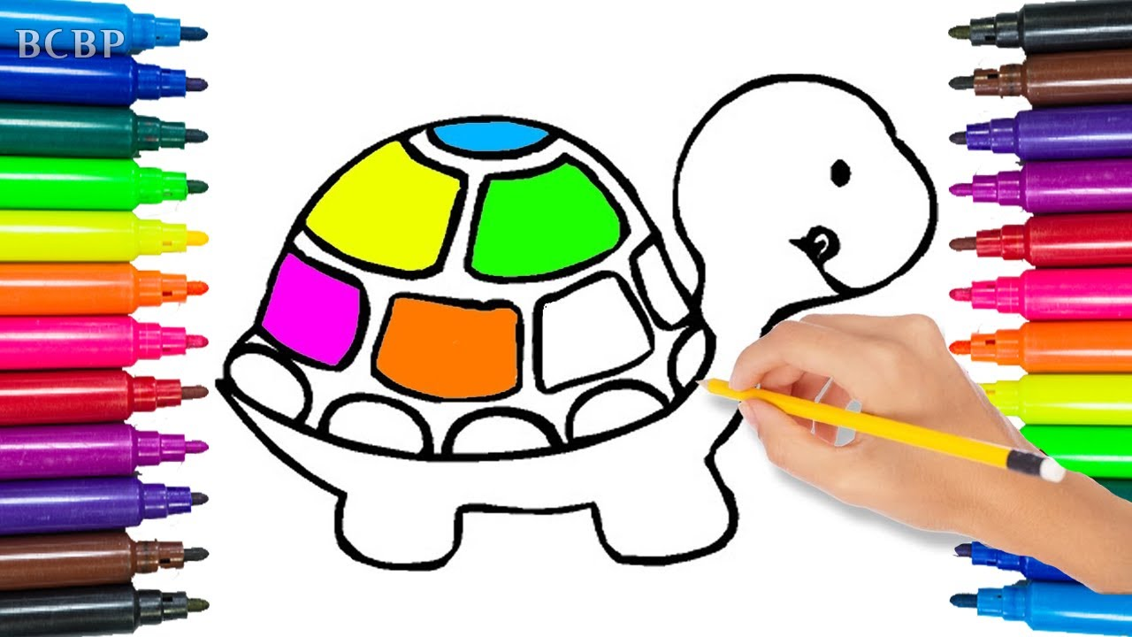 how to draw colorful turtle coloring pages for children art for