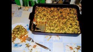 Ужин полезный.Запеканка кабачковая с фаршем и помидорами.