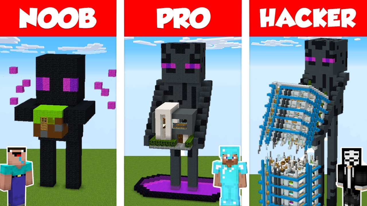 Minecraft NOOB vs PRO vs HACKER: ENDERMAN STATUE HOUSE BUILD CHALLENGE in Minecraft / Animation