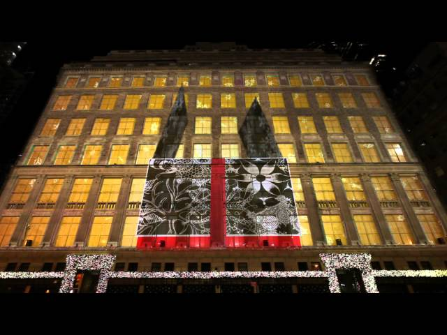 SAKS FIFTH AVENUE - HOLIDAY 3D LIGHT SHOW 2012 Travel Video