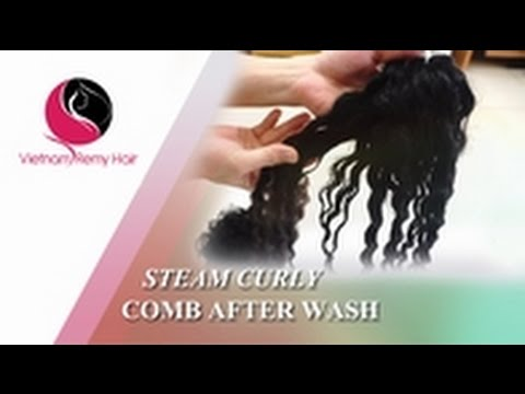 Video Tutorial| How to Comb Steam Curly Hair Extensions After Wash to Best