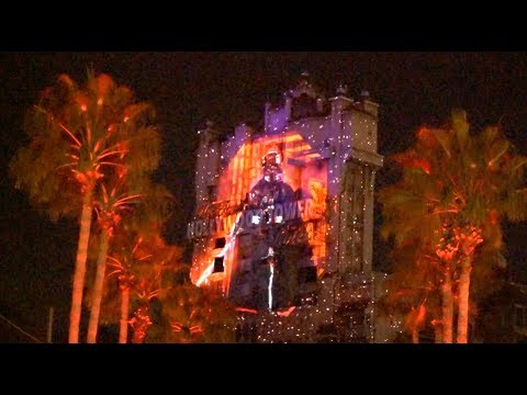 Darth Vader / Death Star projections on Tower of Terror at Star Wars: Galactic Nights