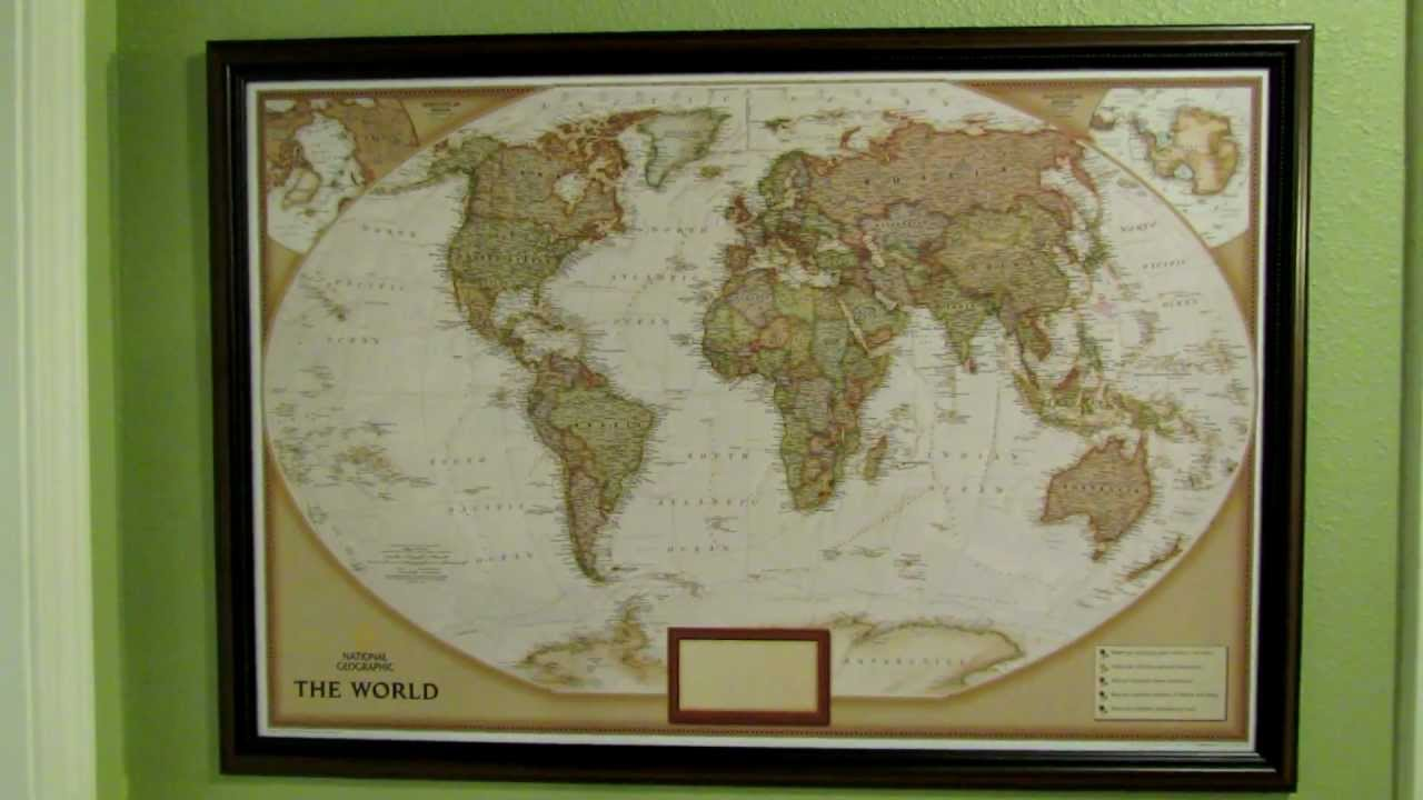 National Geographic Personalized Push Pin Map Of The World YouTube - Framed scratch world map