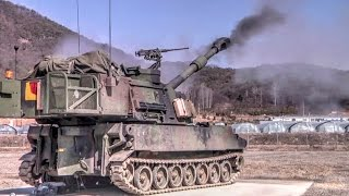 Paladin 155mm Self-propelled Howitzer Gunnery in South Korea