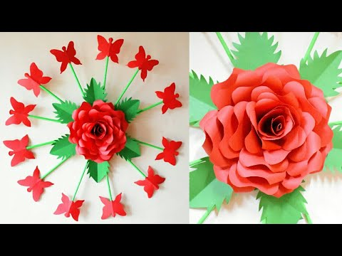 PAPER FLOWER WALL HANGING | PAPER ROSE FLOWER CRAFT | DIY WALL HANGING CRAFT IDEAS | artmypassion