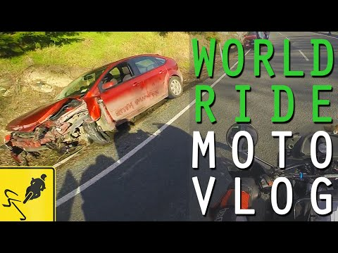 Car Crash and Icy Roads Riding to Milford Sound, New Zealand - MotoVlog