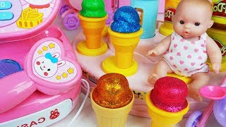 Play doh and Baby doll Glitter Ice cream toys play - ToyMong TV 토이몽