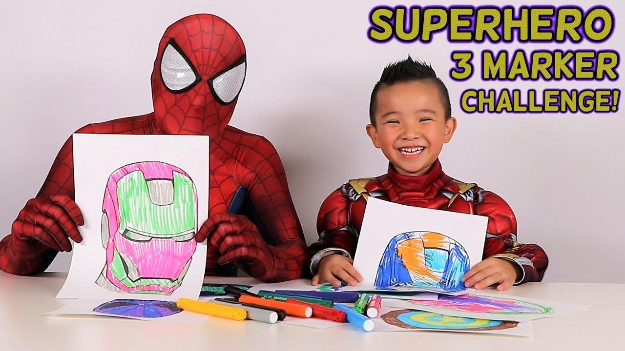 Superhero 3 Marker Challenge Fun With Spider Man Iron Man And Ckn Toys
