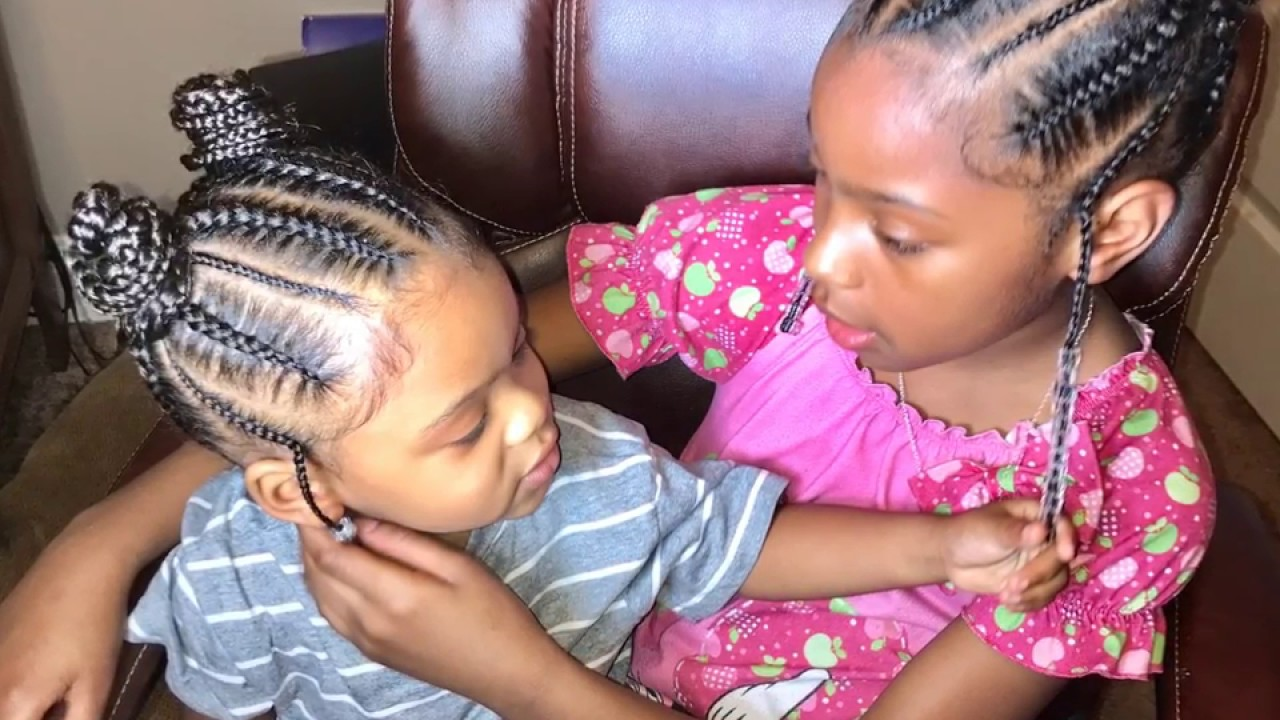 Super Cute Hairstyle For Kids Feed In Braids Into Two Buns Ponytails By Beautiishername