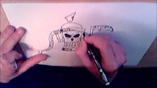 How to draw graffiti skull spraycan