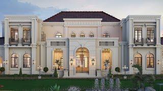 Проект дома в стиле Барокко. Дом с бассейном, террасой, балконами и парковкой. Ремстройсервис V-720