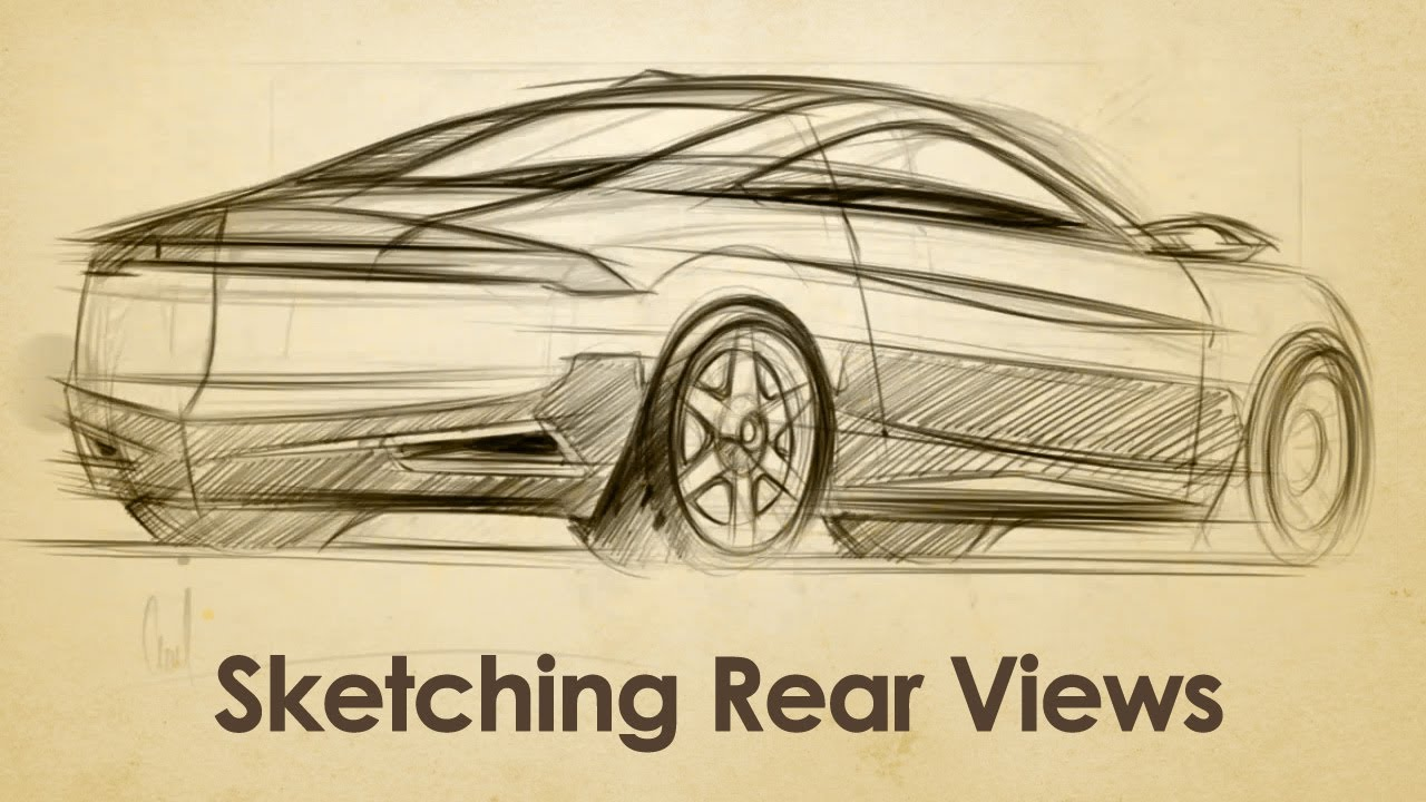 How to Draw Cars in Rear View Sketch - YouTube