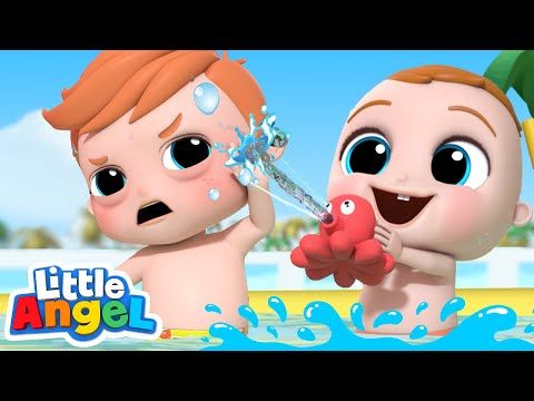 Splish, Splash, It's Pool Time! | Little Angel Kids Songs & Nursery Rhymes