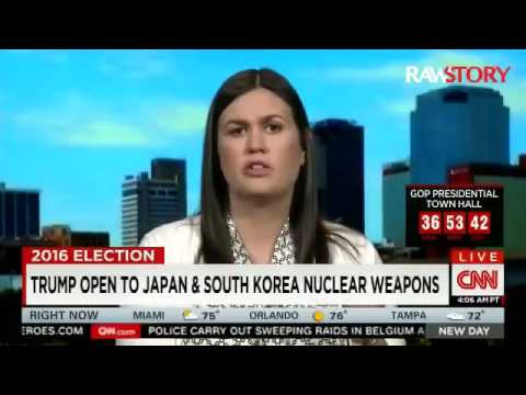 Sarah Huckabee Sanders defends Trump plan to allow more nuclear weapons in Asia