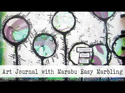 DIY Marbling Background for Art Journaling | Marabu Easy Marble Techniques for Beginners