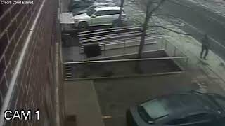 Surveillance video from Dundas St. E. near Carlaw Ave. on April 20, 2015 shows Kristy Hodgson, 31, walking by with her two dogs and, seconds later, a black Honda jumping the curb. The car fatally struck her off camera.