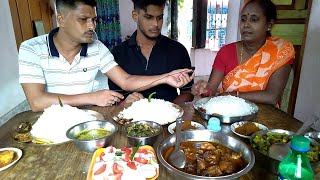 First Time Full Family Eating Show (Husband Wife & Son) - Rice with Fish Chicken & Vegetables