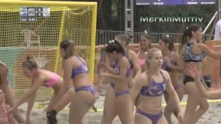 Argentina Beach Handball Girls Celebrate Victory over Uruguay
