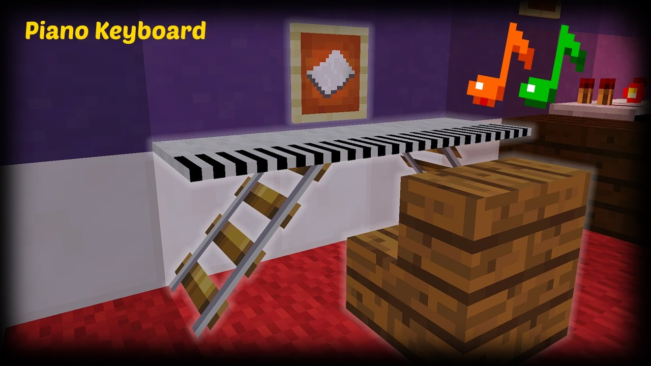 Minecraft - How to make a Piano Keyboard - YouTube