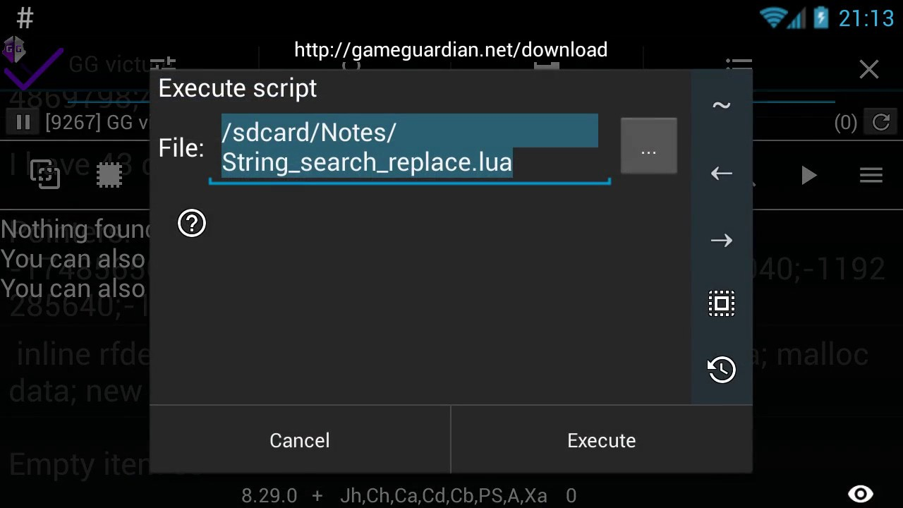 Text (string) search/replace - lua script - GameGuardian