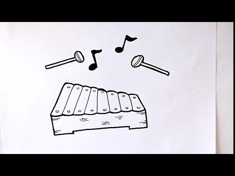Cómo Dibujar Un Xilófono Dibuja Conmigo Dibujos De Instrumentos