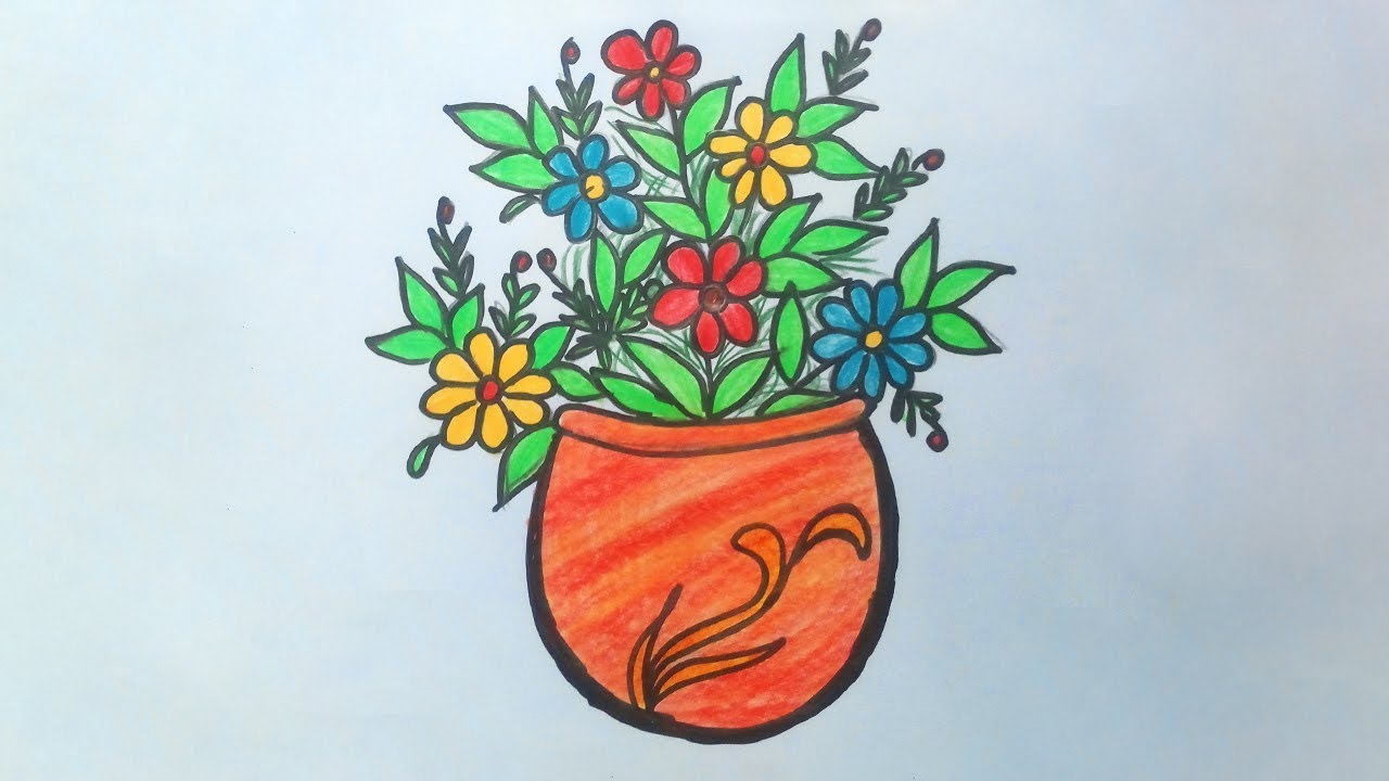 Flower Vase Drawing With Pencil Colour Step By Step Flower Pot Design Easy For Beginners Youtube
