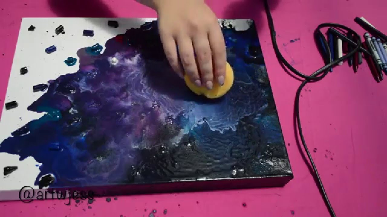 Diy wall art crayon galaxy youtube for How to paint galaxy