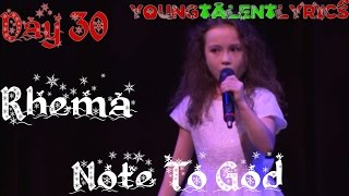 Rhema Marvanne ★ Note To God (Day 30)