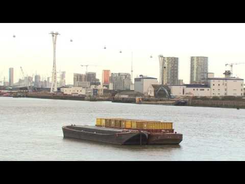 Barge loading at Peruvian Wharf, London