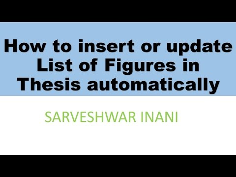 How to insert or update List of Figures in Thesis automatically in MS Word