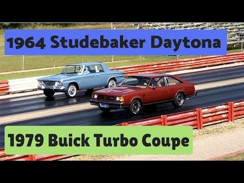 1979-buick-turbo-coupe-vs-1964-studebaker-daytona-|-pure-stock-muscle-car-drag-race
