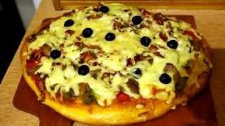 Кулинарный, Домашняя пицца с грибами