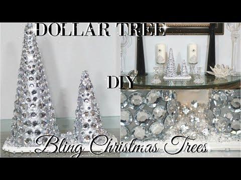 DIY DOLLAR TREE GLAM CHRISTMAS TREES | DOLLAR STOER DIY ROOM DECOR | DIY HOME DECOR CRAFT IDEAS