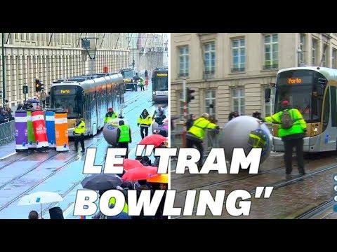 À Bruxelles, les conducteurs ont joué au bowling avec leur tram