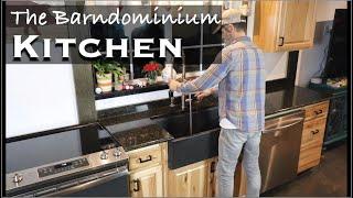 Barndominium Kitchen - Cabinets, Farmhouse Sink, and Granite Countertops