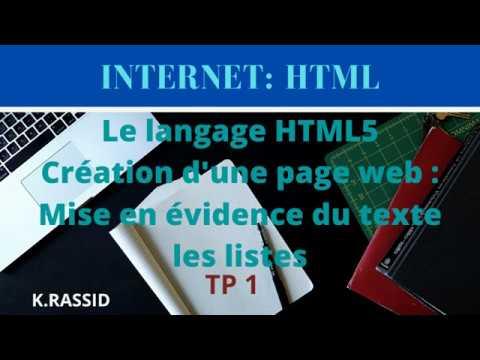 HTML TP1  Création D'une Page Web Par Le HTML 5   Page HTML   Page Web En HTML   Utilisation Du HTML
