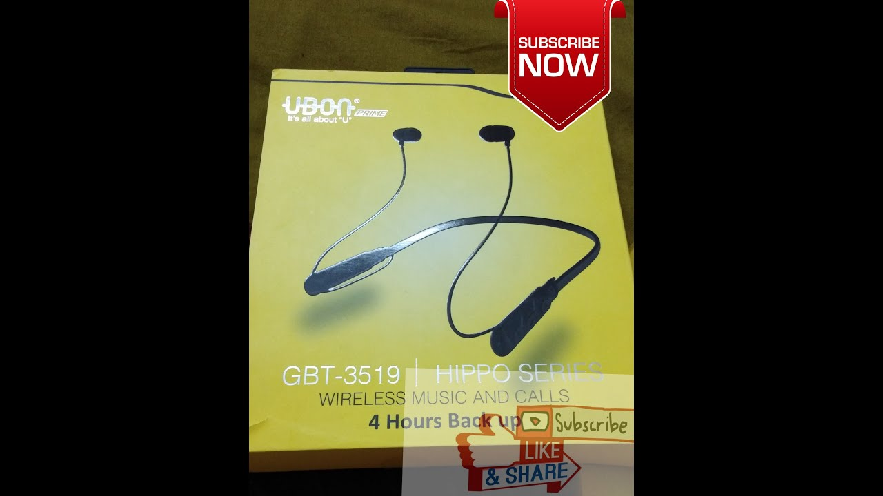 c699fa810db Ubon(BT-3519) Ergonomically Designed/Bluetooth Collar in Ear Hippo Series  Built-in Mic Neckband Headphone