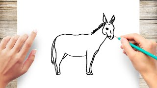How to Draw Donkey Step by Step for Beginners Slow and Easy