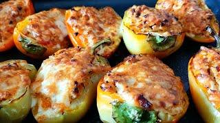 Фаршированные перцы - лодочки в духовке. Без риса!!! Перец фаршированный Мясом, Сыром и Овощами