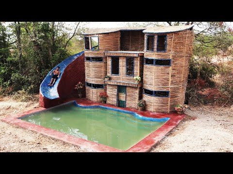How To Build Three Floor House and Big Slide Pool
