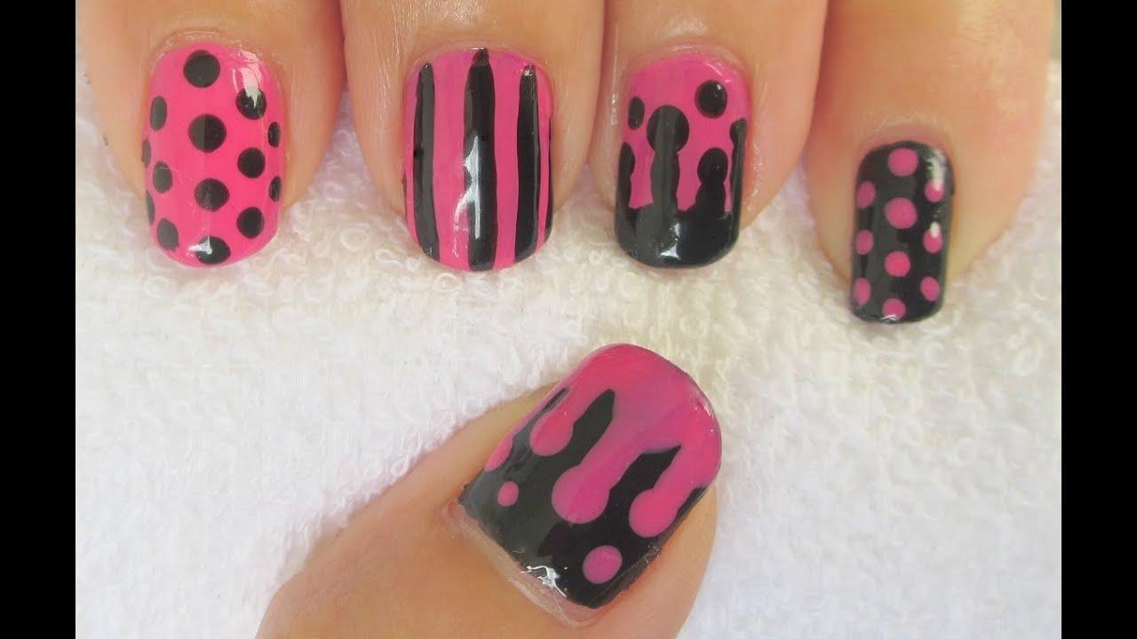 Pink and black nail art youtube pink and black nail art prinsesfo Images