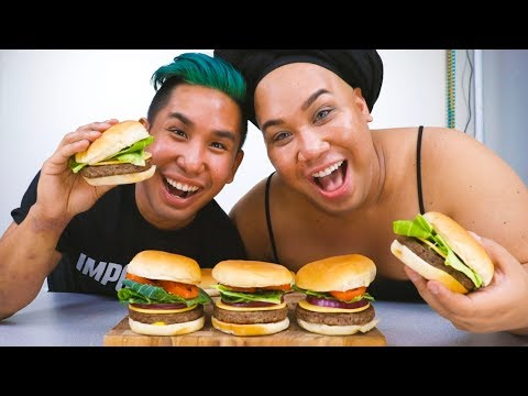 FIRST TIME COOKING THE IMPOSSIBLE BURGER WITH PATRICKSTARRR | MUKBANG MONDAY HEYITSPETER thumbnail