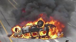 Strangers Save Woman In Fiery LIE Crash