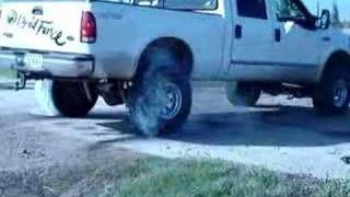 Big Lifted F-250 Diesel Burnout With Black Smoke