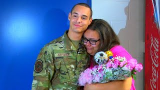 Air Force Brother Surprises Sister at Graduation Practice