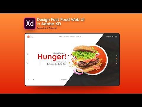 Design Fast Food Web UI in Adobe Xd - Speed Art Tutorial thumbnail
