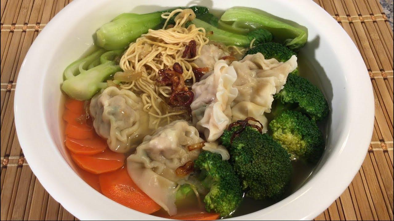 How To Make Egg Noodle Wonton Dumpling Soup-Asian Food Recipes - YouTube