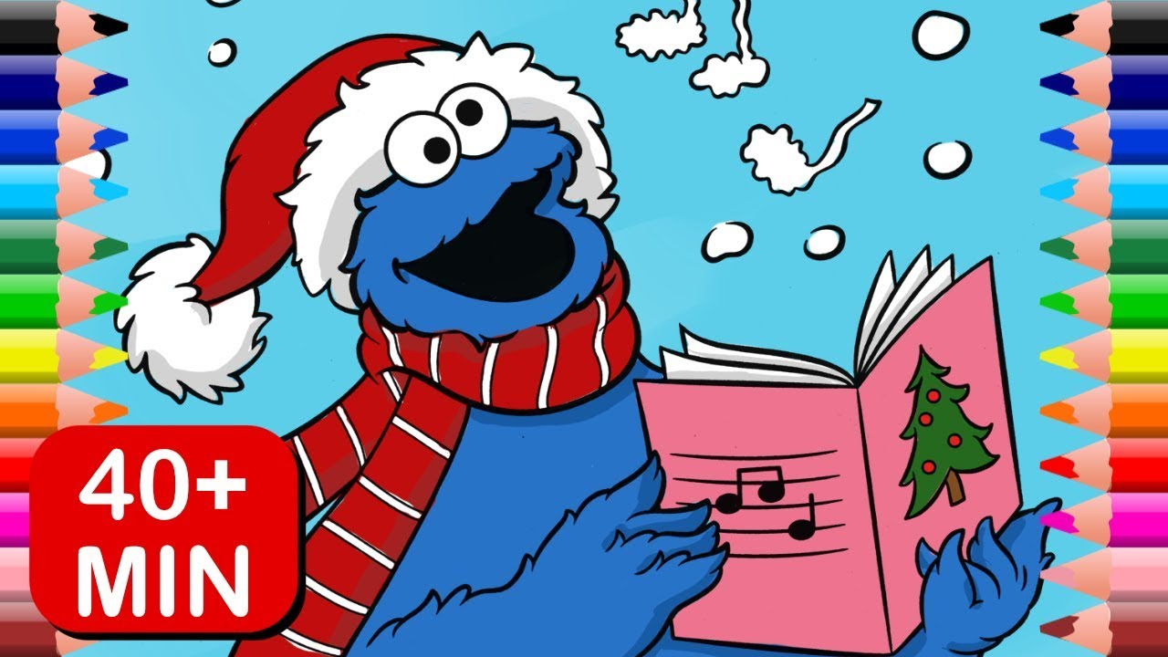 Cookie Monster Christmas Coloring Pages Sesame Street Colors For Kids